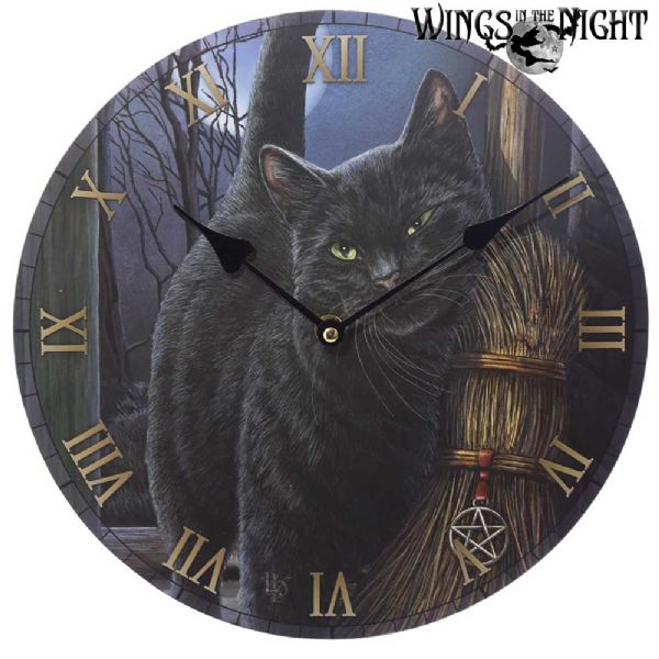 LISA PARKER Black Cat - A Brush with Magick Wall Clock